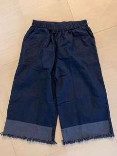 BNIB two tone denim frayed wide leg culottes