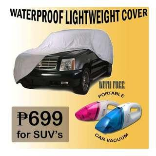 Waterproof Lightweight Cover for SUV's with FREE Portable Car Vacuum