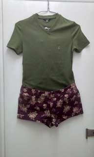 Guess top and floral shorts bundle