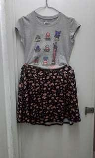 Converse tee and floral skirt