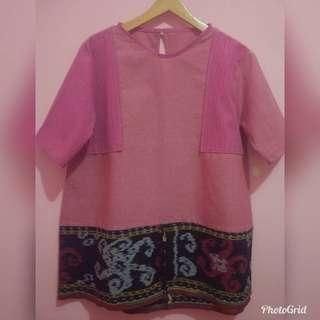 Blouse lurik atbm mix tenun blanket