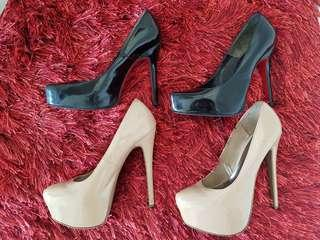 F21 Nude and Janilyn black heels