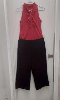 Formal wear red top amd culottes