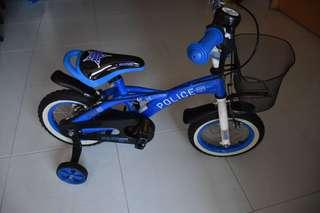 Blue police bicycle