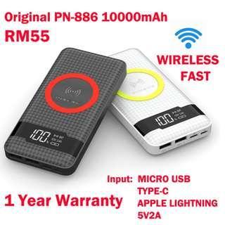 PINENG Powerbank PN-886 10000mAh (Wireless Charging And Three Inputs)