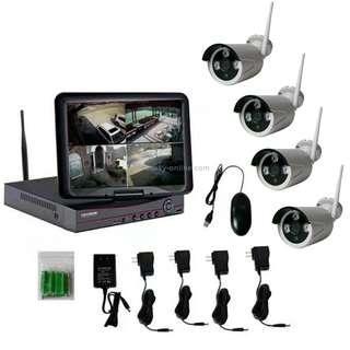 K9104E-PE2013C 4CH HD 960P 1.3 Mega Pixel 2.4GHz WiFi IP Bullet Camera 10.1 inch LCD Screen NVR Kit
