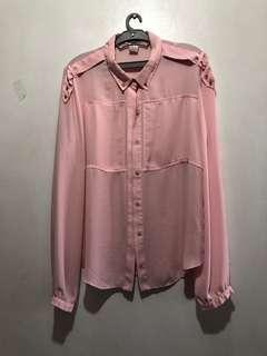 Pastel pink chiffon long sleeves