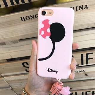 Iphone 6 Pink Minnie Mouse Matte Hard Case with Tassel