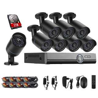 COTIER A8B5 8 Channel 720P 1.0 Mega Pixel 8 x Bullet IP Cameras AHD DVR Kit with 1TB HDD Disk, Support Night Vision / Motion Detection, IR Distance: 20m