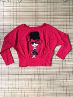 Red crop pullover