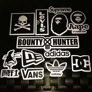 Sticker Waterproof High Quality Stickers - Black and White Streetwear Brands Logo