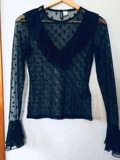 XS/S blouse sheer fabric with wizard sleeves