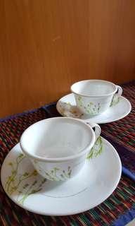 美國康寧餐具CORELLE® 餐具咖啡杯連碟套裝 Coffee2杯+2碟