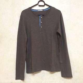 ♡ grab a tee brown long sleeved shirt ♡