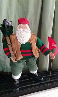 Original Possible Dreams Santa Claus Christmas decoration with golf clubs bag and flag