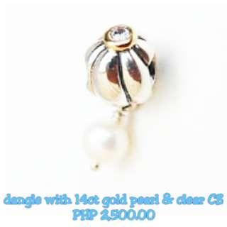 PANDORA - Dangle With 14ct Gold Pearl & Clear CZ Top