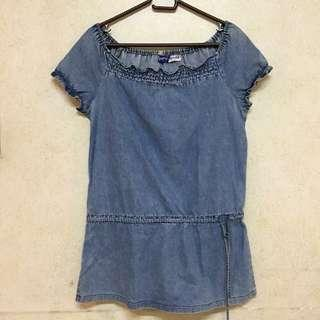 ♡ petit monde denim off shoulders top ♡