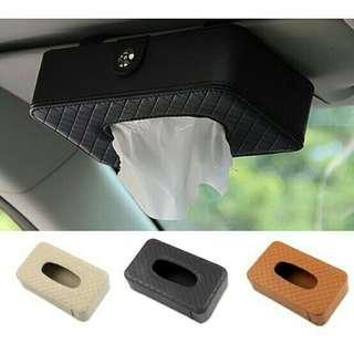 PU Leather Tissue Napkin Box Sun Visor Clip NKT06