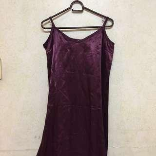 ♡ maroon or wine satin slip dress ♡