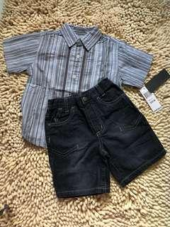 Authentic Kenneth Cole boy shirt and Bermuda Jean set for 18mth up to 3yrs old (big cutting)