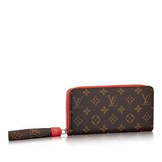 💎💯Authentic LOUIS VUITTON MONOGRAM & RED ZIPPY WITH TASSEL WALLET💎