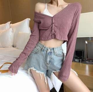 Rose cropped cardigan/ top