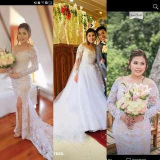 Wedding gown for rent with detachable skirt