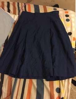 Vintage navy blue pleated skater vintage skirt