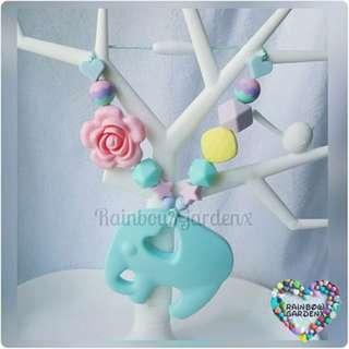Turquoise Blue Elephant Teether with beads Carrier Accessory
