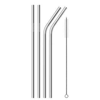 Stainless Steel Metal Drinking Straw 4 Reusable Straws