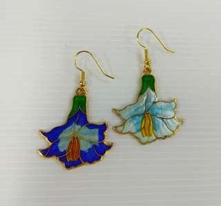 Vintage Hand Painted Chinese Cloisonne Gold Plated Dangle Hoop Earring Enamel Color Blue, White, Orange, Black In The Shape Of Flower