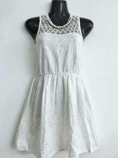 Jaquard Pearl White Dress