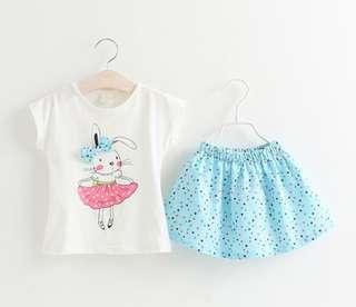 🌟PM for price🌟 🍀Girl Rabbit Printed T-shirt+Hearts Printed Skirt 2pcs Set🍀