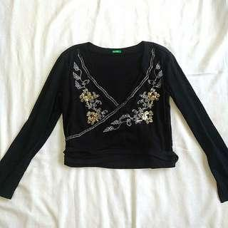 United Colors of Benetton Sequined and Beaded Semi Crop Top