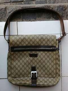 Gucci Monogram Messenger Bag Canvas Men's Italy AUTHENTIC Sling Crossbody