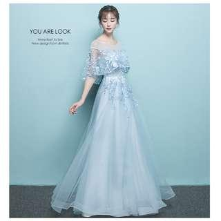 Gown Collection - Special Scarf Style Sleeves Design in Embroidered Flowers Sky Blue Gown