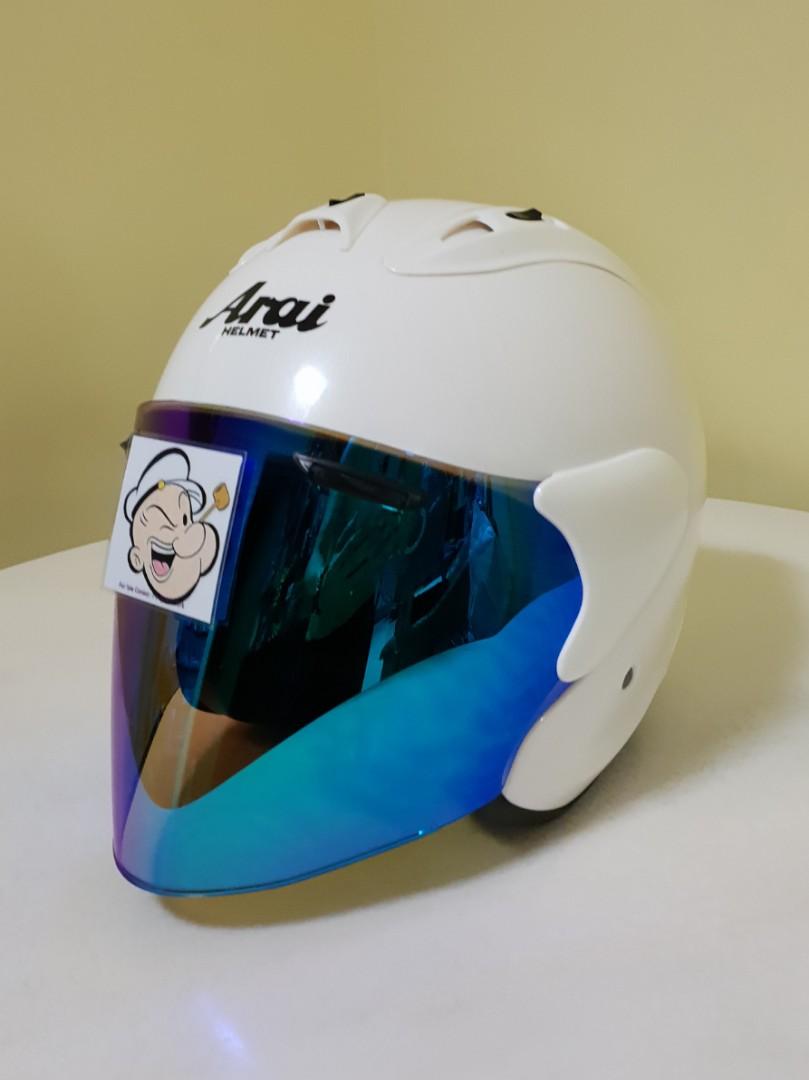 010d2c62 1510👀👁🔐 TSR RAM4 WHITE v BLUE Visor CONVERT TO ARAI Helmet For ...