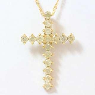 0.5 cts - 18k Diamond Cross Necklace (Chain & Pendant)