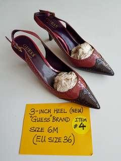 """3- INCH HEEL (NEW).   """"GUESS"""" BRAND.   SIZE 6M (EU SIZE 36)"""