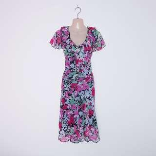 CAPTURE - Size 14 - Black and Pink Spring Time Dress
