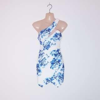 ANGEL BIBA - Size 8 - One Shoulder Blue Floral Dress