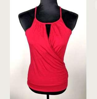 Red sz S women tank top cami wrap shirt sexy front keyhole stretch club party