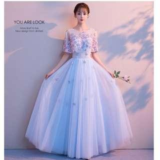 Gown Collection - Cute Purple Light Blue Embroidered Flowers Lace Gown