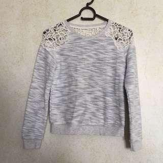 ♡ kids: forever 21 grey sweater with lace details ♡