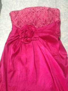 Dress Pink Brokat Pita - Gaun Pita Pink