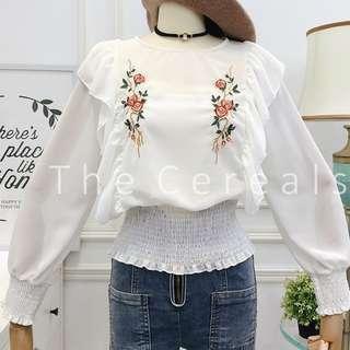 TC3042 Korea Flowers Embroidered Long Sleeve Blouse (White,Grey)