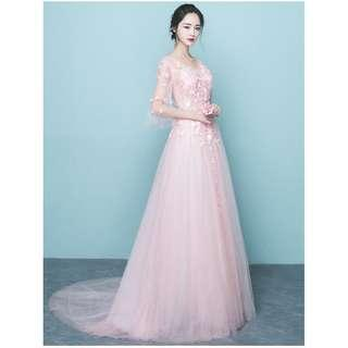 Gown Collection - Pinky Sweet Mid Length Lace Material Little Tail Gown