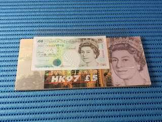 1997 United Kingdom HK97 £5 Pounds Note Commemorative Banknote with Cheque Book HK97 289055