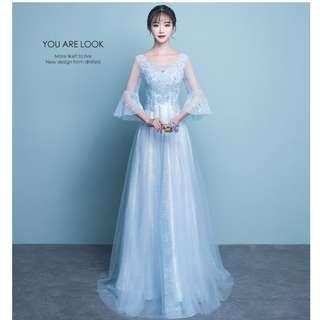Gown Collection - Romantic Sky Blue Mid Length Lace Sleeves Little Tail Gown