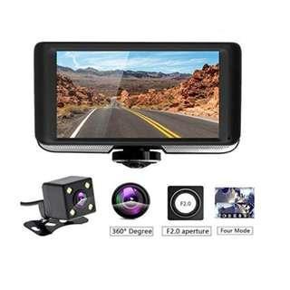 Podofo Dashcam 360 Degrees Panoramic Dual Camera Car Driving Recorders DVR Car Video with Rear View Camera Gravity Sensor Night Vision